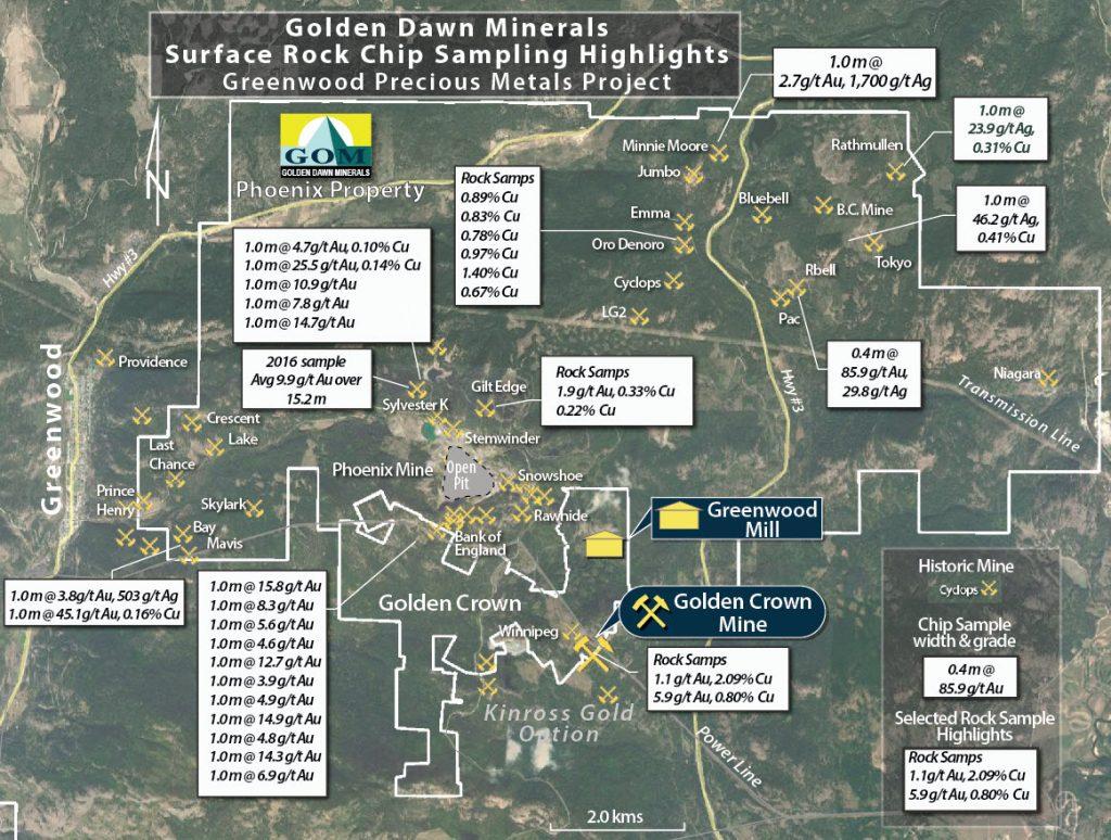 Golden Dawn Minerals Sample Location Map, Greenwood Precious Metals Project